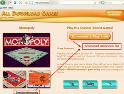 Screenshot of the rogue download site