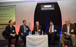 Security for business: Peter Wood (far right) chairs the Security as a Business Enabler panel at Infosec 2014