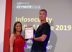 Eleanor Dallaway inducted Troy Hunt into the Infosecurity Group Hall of Fame in June 2019