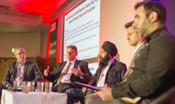 Calvin Dickinson of Amgen speaking on the Big Data and Security Intelligence panel at Infosec 2014