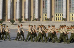 The People's Liberation Army in Tiananmen Square in Beijing in Hebei Province, People's Republic of China