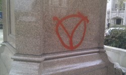 Suspected Anonymous vandalism on Parliament Square from this November's #OpNov5 protests, done in the name of hacktivism (Photo credit: John Walker)