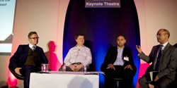 Infosecurity Europe 2014: Richard Corbridge, CIO at NIHR CRN, Nick Bleech, head of information security at Travis Perkins, Ashish Surti, head of IT security at Direct Line Group and Sarb Sembhi, director, Incoming Thought, discuss data centric security. panel