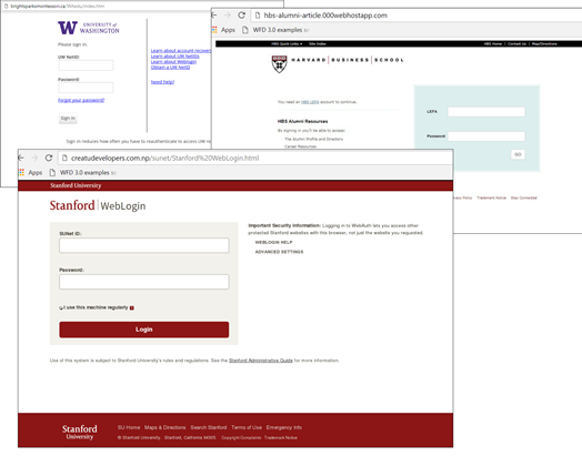 Credit: Kaspersky Lab. Examples of phishing pages mimicking the login pages of the University of Washington, Harvard Business School, and Stanford University websites.