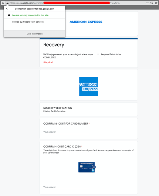 Figure 2: Fake American Express login page served from Google Forms