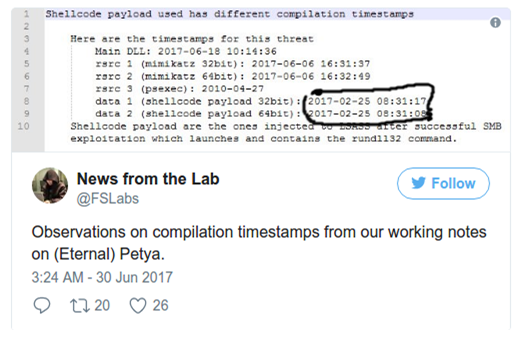 Tweet from F-Secure with the timestamps that are the basis for the theory that NotPetya started development before the EternalBlue leak.