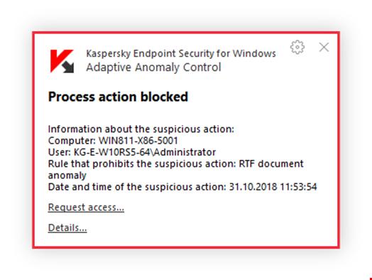 'Process action blocked' notification